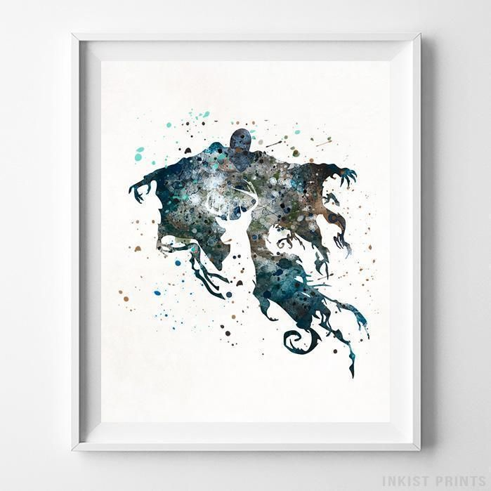Dementor, Harry Potter Watercolor Wall Art Print. Prices from $9.95. Available at InkistPrints.com - #harrypotter #watercolor #harrypottertheme #harrypotterfan #homedecoration #Dementor