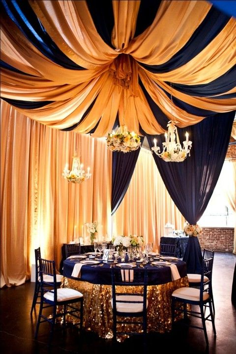 55 Elegant Navy And Gold Wedding Ideas | HappyWedd.com, blue and gold weddings, glam and glitter weddings, table settings, wedding color schemes, unique wedding venues, wedding decor #blueandgoldweddings