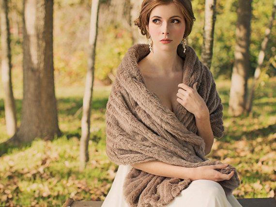 Bridal Fur Shawl / Fur Stole / Winter Wedding {York Fur Shawl} on Etsy, £148.55