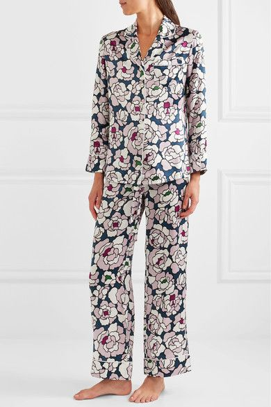 Olivia von Halle   Lila floral-print silk-satin pajama set   NET-A-PORTER.COM
