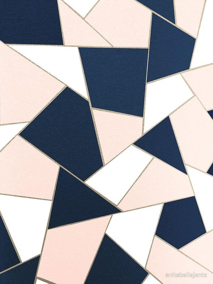 Navy Blue Blush White Gold Geometric Glam 1 Geo Decor