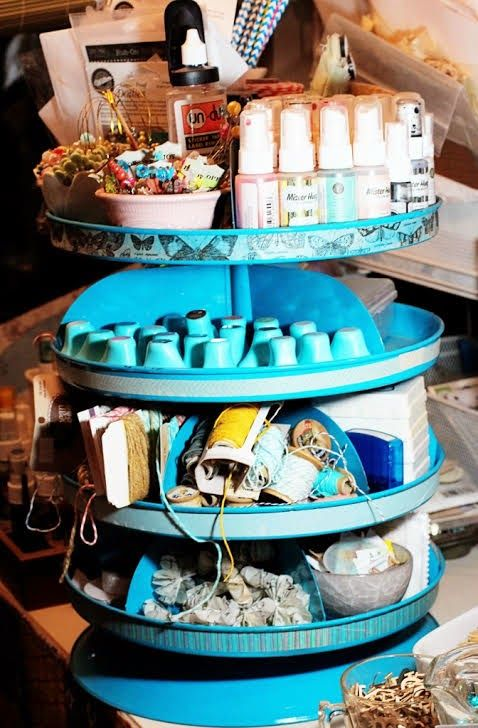 The Little Blue House- revolving storage bins are a great storage solution for your craft space- Valerie Bishop- LBH Media Team