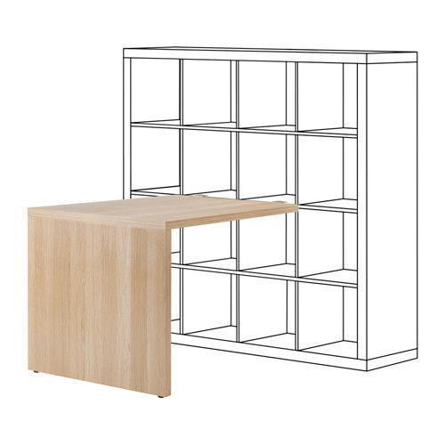 IKEA KALLAX Desk Oak effect 115x76 cm The table stands steady also on uneven floors since it has adjustable feet.