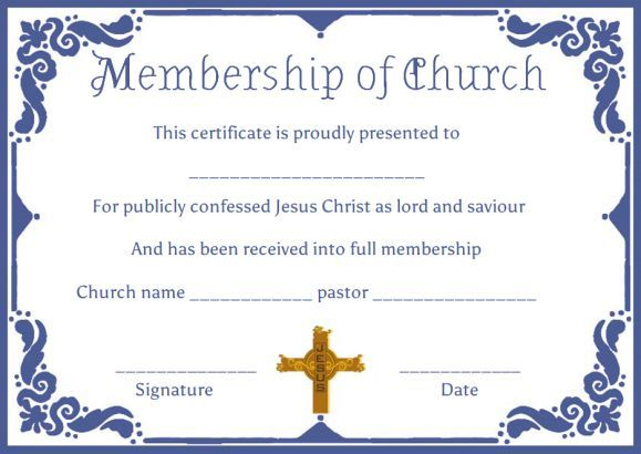 Free Church Membership Certificate Templates