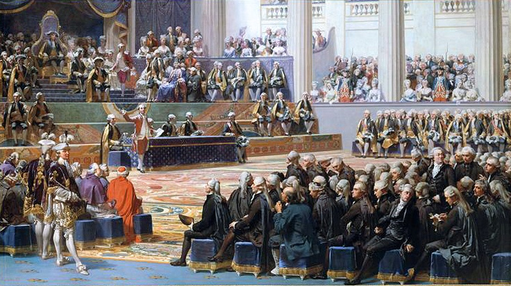 King Louis XVI summoned the French Estates-General of 1789, a meeting of the general assembly representing the French estates of the realm: clergy (1st Estate), nobles (2nd Estate), & common people (3rd Estate). He proposed solutions to his government's financial problems. The sessions came to an impasse as the 3 estates clashed over their respective powers. It was brought to an end when many members of the 3rd Estate formed a National Assembly, signalling the outbreak of the French…