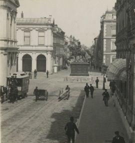 Noordeinde met omnibus den haag 1906