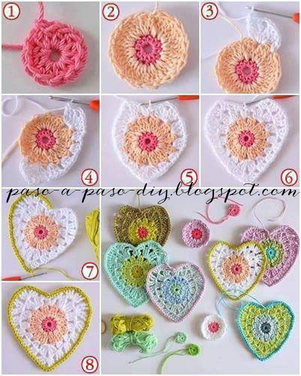 como tejer corazon crochet