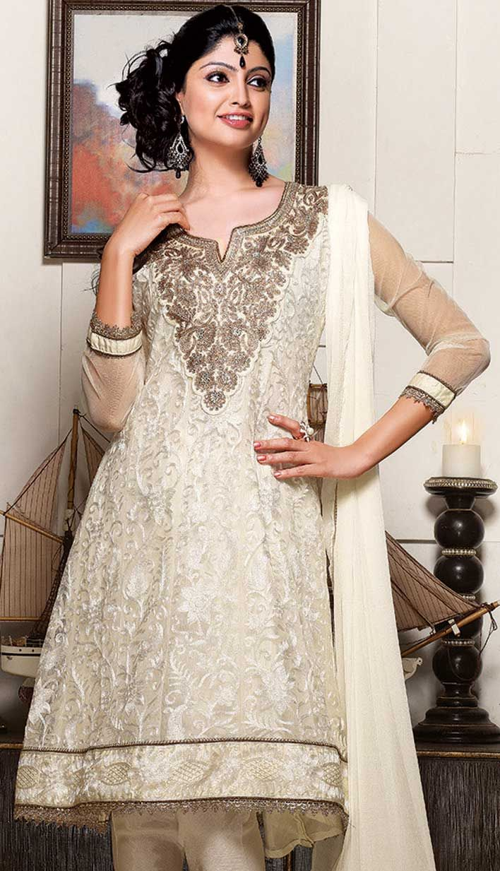 Shop Cream Net #ChuridarPartyWear #Suits Product code: KPW-18226 Price: INR 6306 (Unstitch Suit), Color: Cream Shop Online now: http://www.efello.co/salwar-kameez_Cream-Net-Churidar-Party-Wear-Suits_12111