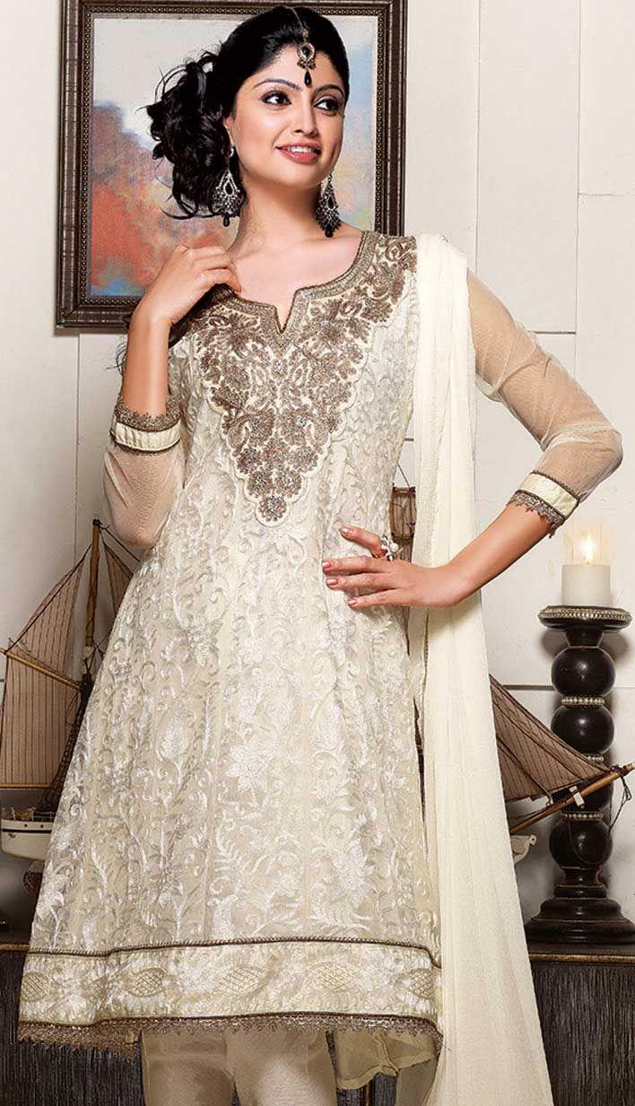 Shop Cream Net #ChuridarPartyWear #Suits Product code: KPW-18226 Price: INR 6306 (Unstitch Suit), Color: Cream Shop Online now: http://www.efello.co/salwar-kameez_Cream-Net-Churidar-Party-Wear-Suits_12111