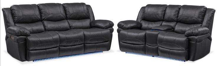 Monza Dual Power Reclining Sofa And Reclining Loveseat Set - Black