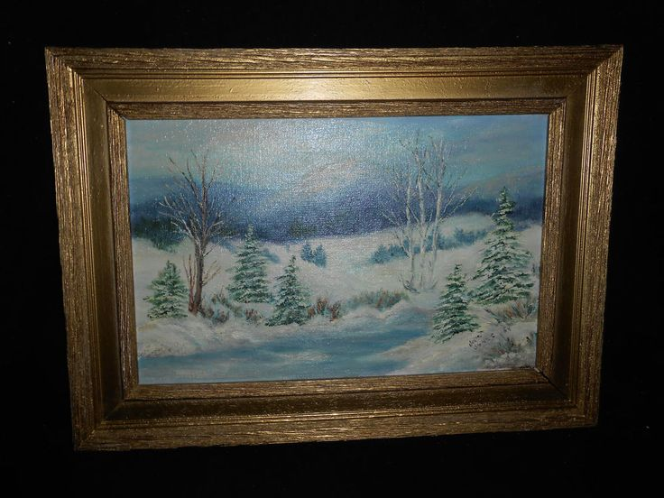 Oil Painting on Canvas of Winter Scene Signed Janet Jones 84 Molded Frame Gold #Impressionism