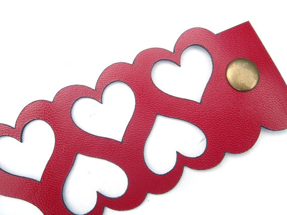 Leather cuff bracelet  laser cut heart design in by EmilydeMolly, $35.00