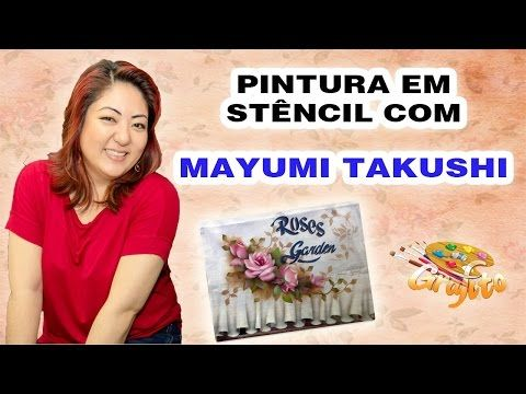 MAYUMI TAKUSHI na GRAFITO ARTE - Pintura com Stêncil Cerejeira - YouTube