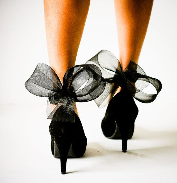 Black heels with a bow