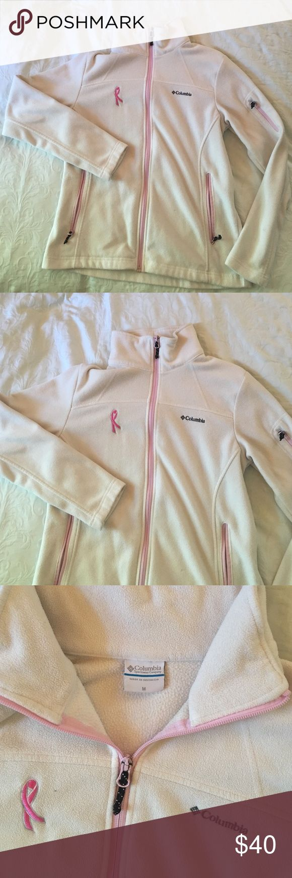 Women's Columbia Jacket White/ pink Women's Columbia zip-up jacket Columbia Tops Sweatshirts & Hoodies