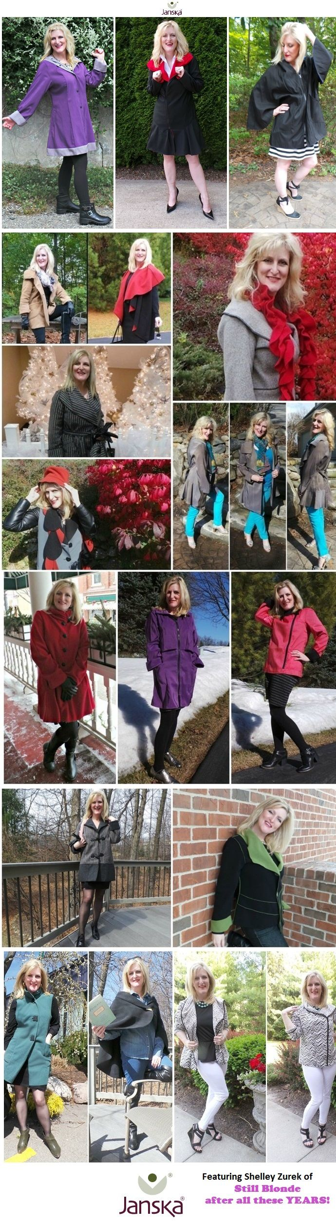 Looking for a new Fall Jacket? Here's some choices for @janskaclothing  Product Line modeled by Still Blonde after all these YEARS, The Chief Blonde, Shelley Zurek