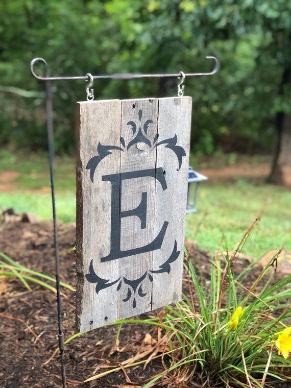 Last Name Initial Mini Flag Pole Yard Sign // Small // Pallet Wood // Rustic Farmhouse Style // RV,