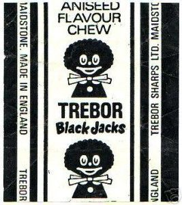 Black Jacks - liquorice/aniseed flavour chews. The earliest versions of the Black Jack wrapper depicted a smiling gollywog; a popular children's toy of the time. In fact, this is the wrapper that most children will remember from their childhood. It wasn't until the 1980s, shortly before Trebor's merger with rival confectioner Bassetts in 1990 that the wrapper was modernised and the image, considered to be politically incorrect, was removed. #trebor #blackjacks #aniseed #pennymix #sweets…