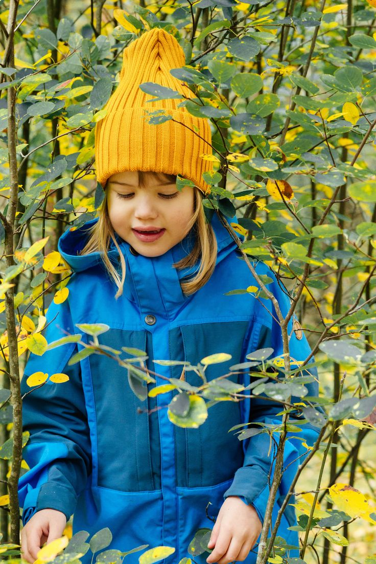 Spring outdoor outfit for Kids. Girls yellow long comfy organic wool beanie.