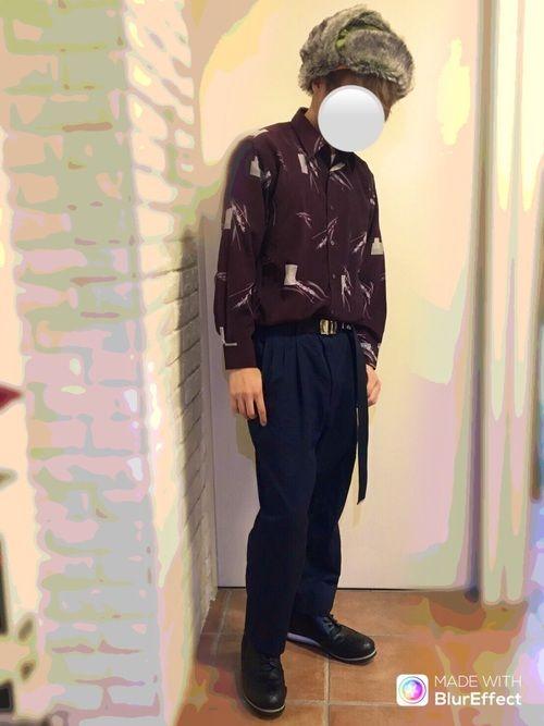 バイトコーデです。 柄シャツ愛が最近復活してきました✨ ファー帽子に関しては一回被ってみたかっただけ