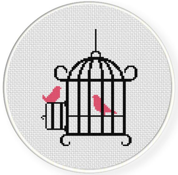 Bird Cage PDF Cross Stitch Pattern Needlecraft by DailyCrossStitch