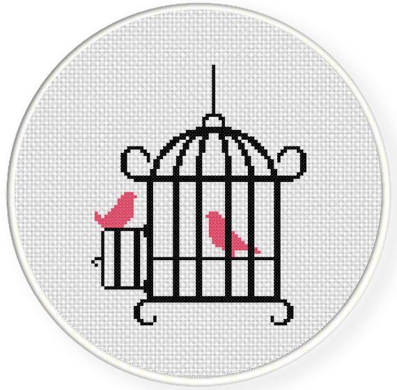 Bird Cage PDF Cross Stitch Pattern Needlecraft by DailyCrossStitch