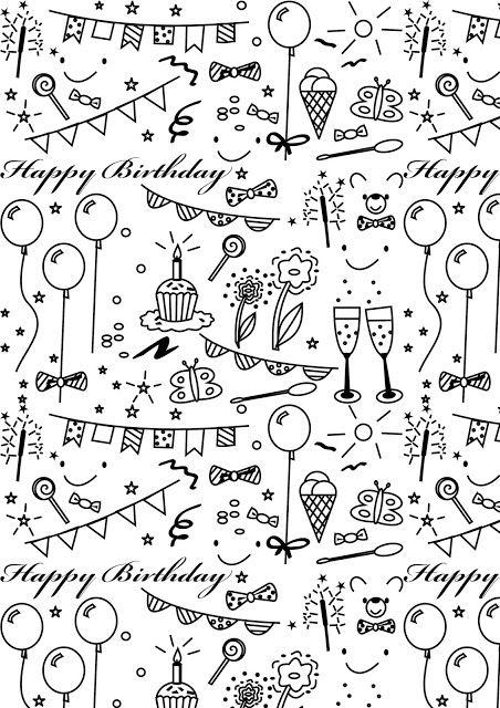 Free printable birthday coloring paper - ausdruckbares Geschenkpapier - freebie   MeinLilaPark – DIY printables and downloads