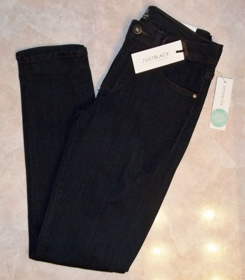 "Just Black Adorra Skinny Jeans.Stretchy Rayon/Cotton/Poly/Spandex blend with a perfect ankle length of 28"". So comfortable. Tagged Navy, but they look almost black.  https://www.stitchfix.com/referral/4292370"