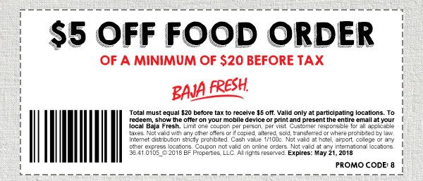 photo regarding Baja Fresh Coupons Printable identify Baja Refreshing Coupon: $5 Off $20 Foodstuff Invest in Printable Coupon codes