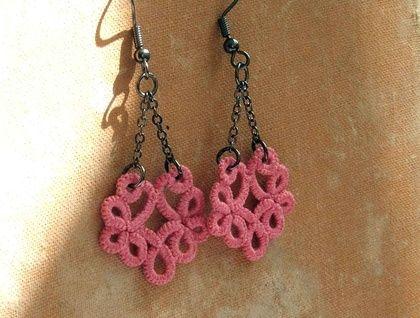 Pink chandelier lace dangle earrings $35.00 NgaioRue
