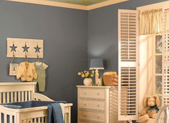 Nursery Room Ideas for Baby Boy - I like this wall color