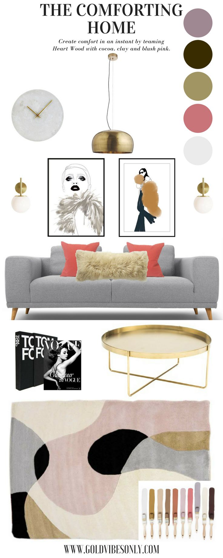 goldvibesonly HEART WOOD   HOW TO STYLE DULUX COLOUR OF THE YEAR 2018 interior design home decor heart wood dusty rose lilac pink grey sofa retro mid century scheme gold coffee table