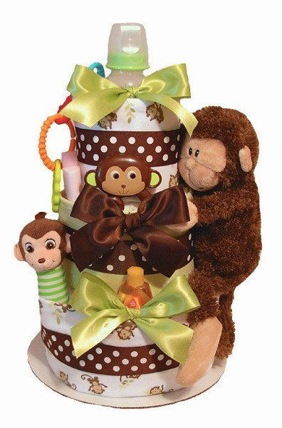 Cocoa Brown Monkey Diaper Cake (#TWB47) - Stork Baby Gift Baskets