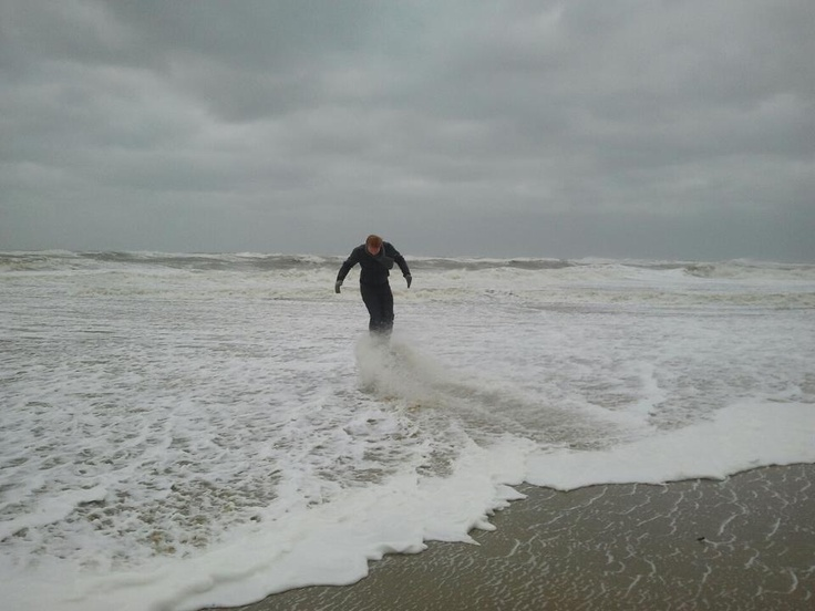 Me climbing on stuff on the beach when a big wave hits me :P