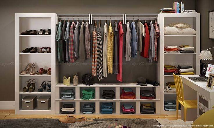 Compre Quarto Modulado Closet Completo Branco - Caaza em Promoção com ✓ Até 12x ✓ Fretinho