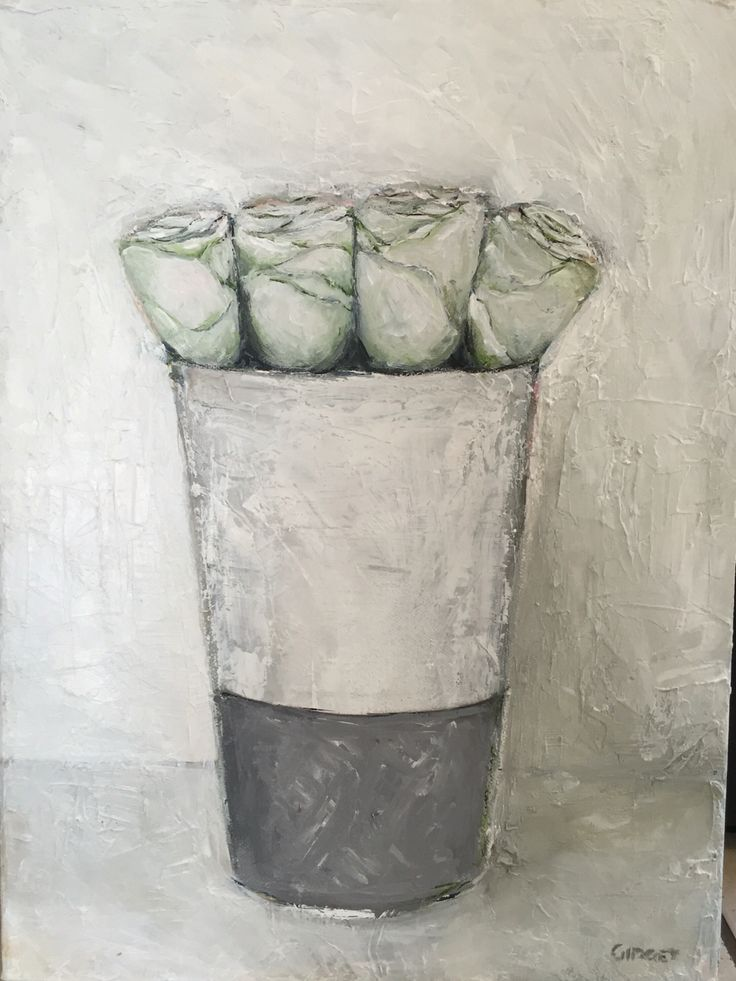 White roses in a vase, painted with acrylic on canvas