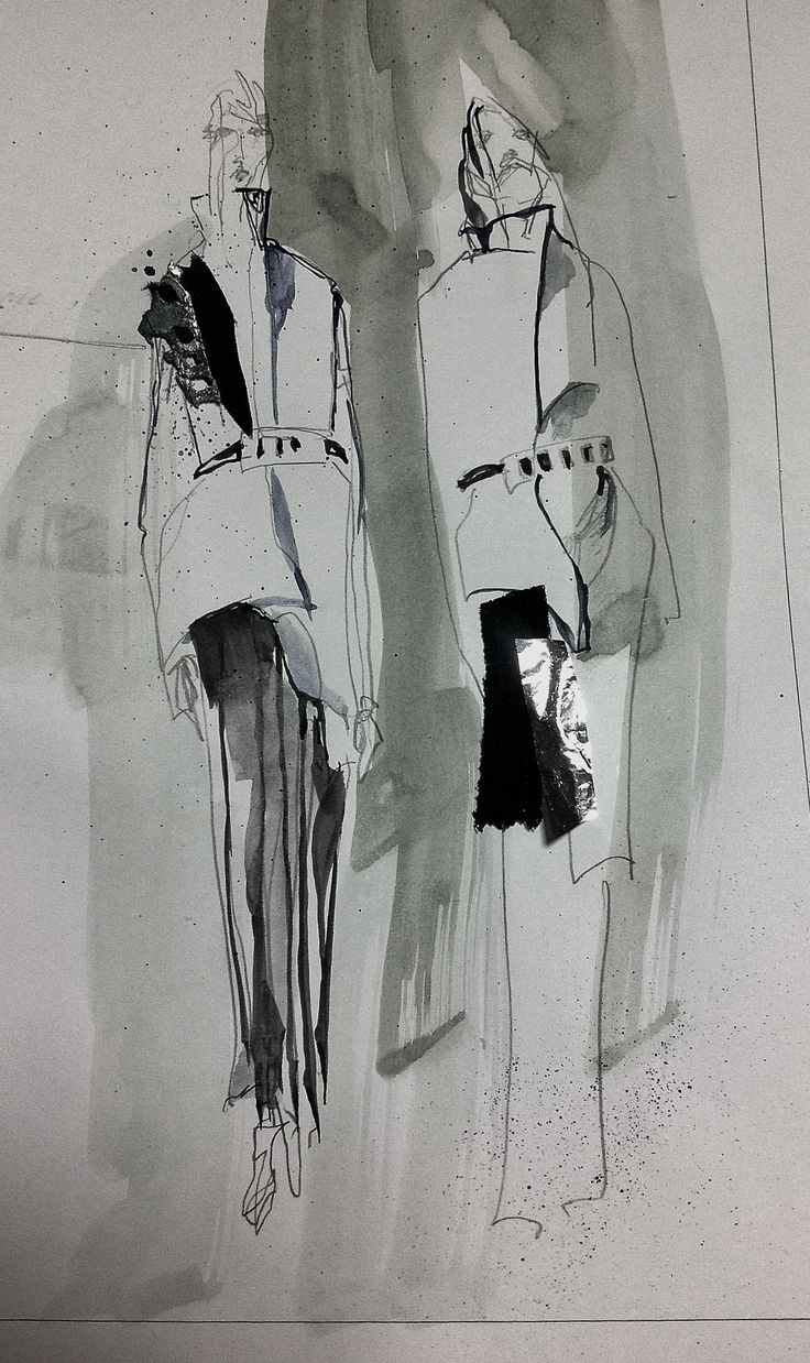 I re-pinned this from 'Fashion sketchbook_ DAN' I like the lack of colour and the media used. The range of lines gives it a look of simplicity I feel will make it easy to recreate.