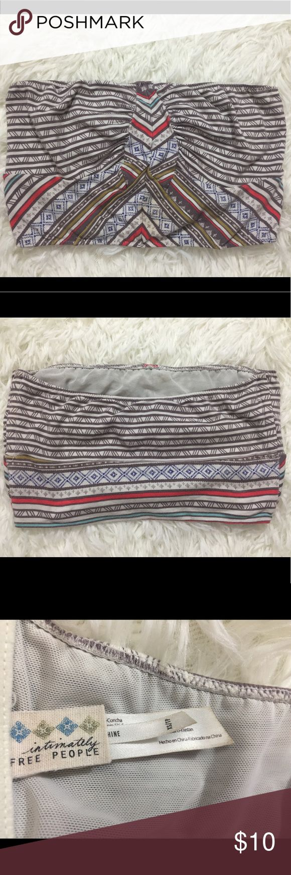 Intimately Free People grey tribal bandeau top XS Gently worn Intimately Free People grey and cream bandeau top tube top size XS. Mesh lined on the inside. Lots of stretch. Comes from a smoke free, pet free home. Please ask all questions before purchasing. Free People Tops