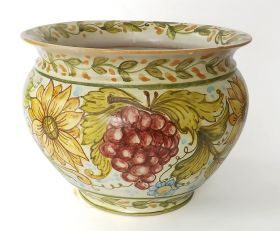 "Flowerpot 1 ""Grapes and Sunflowers"" Vase holder made ​​of in majolica and hand painted with craquelè glaze. #madeinitaly #artigianato #majolica #oggettistica #craftobject"
