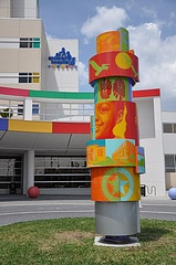 Custom artwork designed and engineered by artist team Catherine Woods and Mark Aeling, at the front entrance of All Children's Hospital, St. Petersburg, FL.