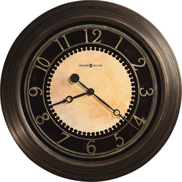 Howard Miller Chadwick Oversized Wall Clock ($159) ❤ liked on Polyvore featuring home, home decor, clocks, brown, howard miller clocks, howard miller, oversized clocks, battery operated clock and brown clock