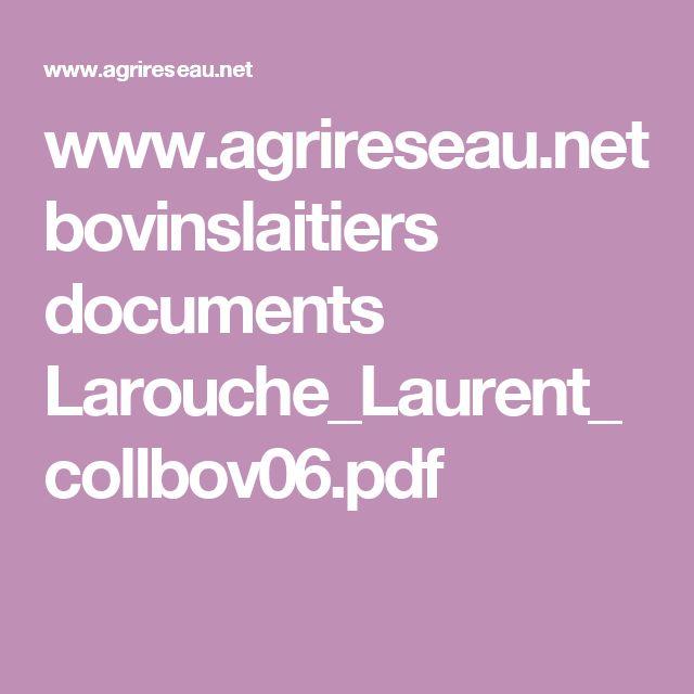 www.agrireseau.net bovinslaitiers documents Larouche_Laurent_collbov06.pdf