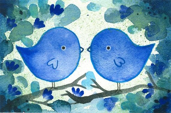 Two Blue   Watercolor birds Original Lauren by fromsmallthings, $40.00