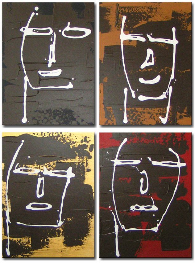 Vier abstract geschilderde gezichten