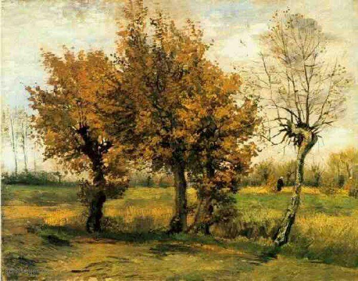 Schilderij Herfst Landschap met vier bomen