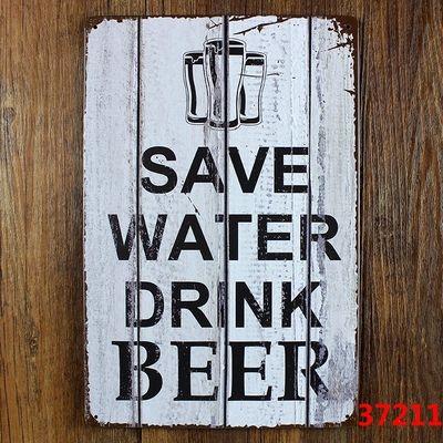 Экономить воду пить пиво Tin вход бар дома дом кафе ресторан декор стены ретро стикер плакат