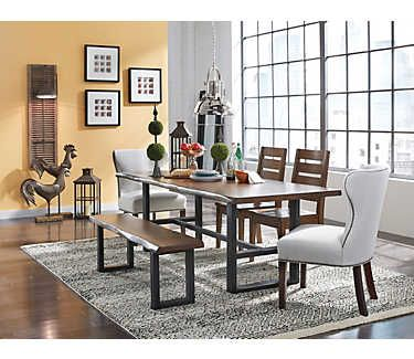 Hand crafted trestle dining table with a solid top in a rich chestnut finish  and black powder coated base 27 best 2016 Holiday Home Sale images on Pinterest   Art van  . Arlington Round Sienna Pedestal Dining Room Table W Chestnut Finish. Home Design Ideas