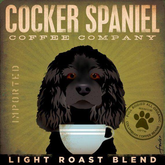 Black Cocker Spaniel Coffee Company original by geministudio, $80.00