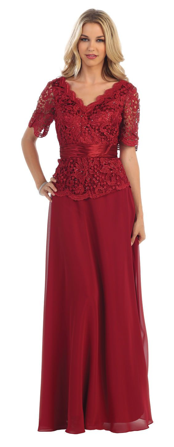 This beautiful mother of the bride groom full length dress comes with short sleeve, lace mix sequins on top and chiffon material. This dress is perfect for wedding, evening party and other special occ