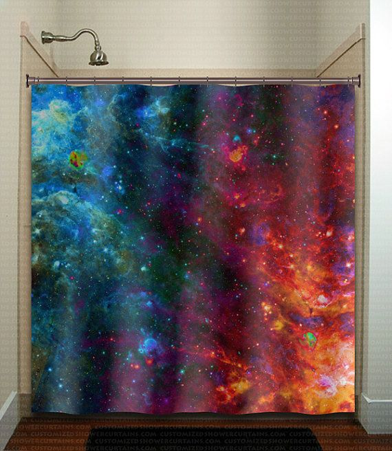 698 best unique shower curtains images on pinterest for Outer space themed fabric